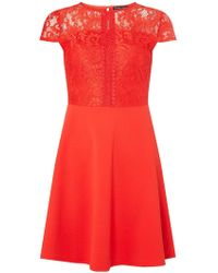 Dorothy Perkins - Red Lace Skater Dress - Lyst
