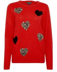 Dorothy Perkins Red All Over Animal Heart Print Jumper, Red