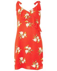 Dorothy Perkins - Red Ruffled Floral Print Sundress - Lyst
