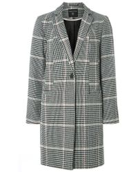 Dorothy Perkins - Multi Checked Button Coat - Lyst