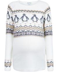 Dorothy Perkins Dp Maternity Ivory Fairisle Penguin Sweater - White