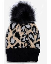 Dorothy Perkins Black Animal Print Pom Hat, Black