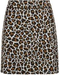 Dorothy Perkins Brown Animal Print Jacquard Mini Skirt, Brown