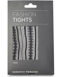 Dorothy Perkins - Black 1 Pack Striped Pattern Tights - Lyst