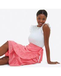 Draper James Tie Waist Skirt In Gingham Seersucker - Pink