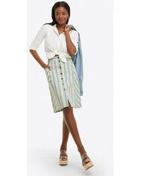 Draper James Button Front Skirt In Striped Denim - Blue