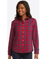Draper James Button Down Top In Angie Plaid - Red