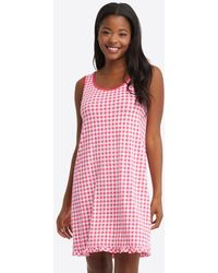 Draper James Alison Nightgown In Raspberry Gingham - Pink