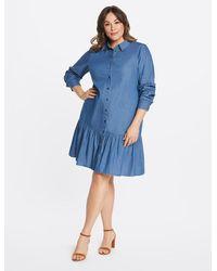 Draper James Chambray Button Down Flounce Dress - Blue