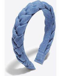 Draper James Braided Headband In Chambray - Blue