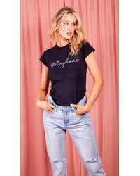 Dresses Stay Home Slogan T-shirt - Blue