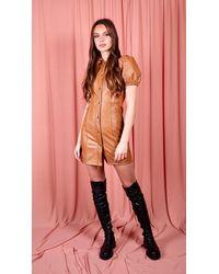 dressesie Button Up Faux Leather Dress - Multicolour
