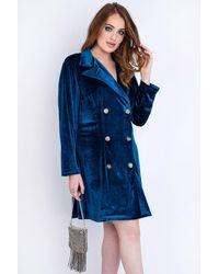 EmmaCloth Blue Velvet Blazer Dress Plus Blue
