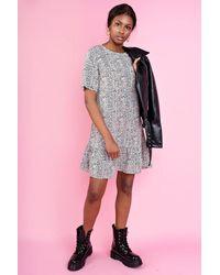 AX Paris Black & White Printed Frill Hem T-shirt Dress - Multicolour