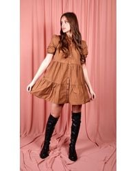 dressesie Button-front Tiered Smock Dress - Multicolour