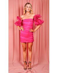 EmmaCloth Pink Puff Sleeve Dress Fuchsia