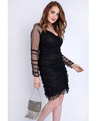 EmmaCloth Sheer Dot Ruched Dress Plus Black