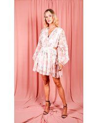 AX Paris Peach Floral Cut Out Frill Sheer Dress - Pink