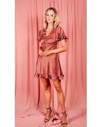 AX Paris Rust Polka Dot Gathered Tie Front Dress - Multicolour