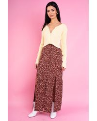 Daisy Street Vanessa Midi Skirt With Front Slip In Vintage Brown