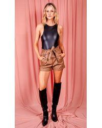dressesie Black Faux Leather Bodysuit - Multicolour