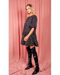 dressesie Angel Black Ditsy Floral Frill Swing Dress
