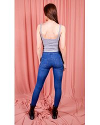 dressesie Grey Ribbed Square Neck Bodysuit - Multicolour