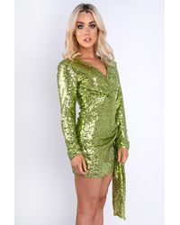 EmmaCloth Green Sequin Long Sleeve Dress Green