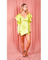 EmmaCloth Lime Crossover Puff Sleeve Dress - Yellow