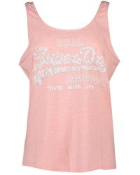 Superdry Vintage Logo Floral Infill Classic Sleeveless T-shirt - Pink