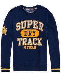 Superdry Split Track Oversized Crew Sweatshirt - Blue