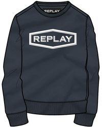 Replay Homme Réfléchissant Logo Sweat-shirt en noir //// BNWT ////
