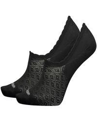 Calvin Klein Show 2p Diamond Open Work Libby Socks - Black