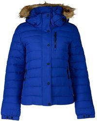 Superdry Classic Faux Fur Fuji Coat - Blue