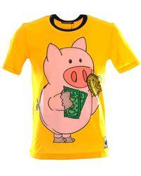 Dolce & Gabbana 730724 Pig Short Sleeve T-shirt - Yellow
