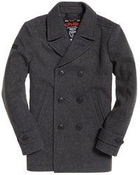 Superdry Merchant Pea Coat - Gray