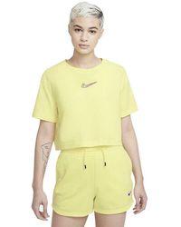 Nike Sportswear Crop Print Short Sleeve T-shirt - Yellow
