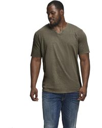 Jack & Jones Split Neck Slim Fit Short Sleeve T-shirt - Green