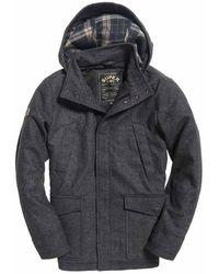 Superdry Gyton Hooded Wool Coat - Gray
