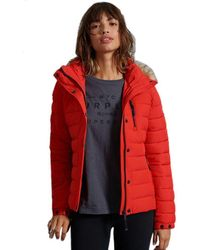 Superdry Classic Faux Fur Fuji Jacket - Red