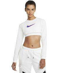 Nike Sportswear Crop Print Long Sleeve T-shirt - White