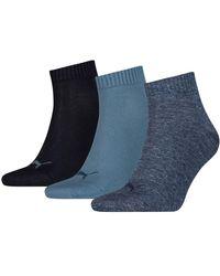 PUMA Quarter Plain Socks 3 Pairs - Blue