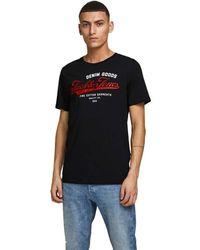 Jack /& Jones Logo Printed T Shirt Mens Short Sleeve Slim Fit Crew Neck Tops 2205