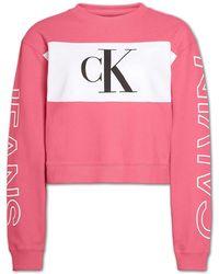 Calvin Klein Blocking Satement Logo Sweater - Pink