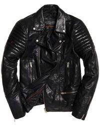 Superdry Premium Classic Leather Biker - Black