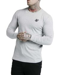 SIKSILK Straighhem Gym Long Sleeve T-shirt - Gray