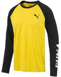 PUMA Modern Sports Men's Long Sleeve Tee - Yellow