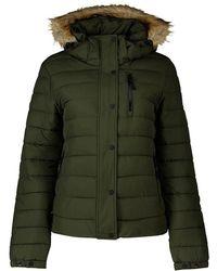 Superdry Classic Faux Fur Fuji Coat - Green