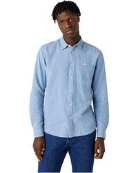 Wrangler 1 Pocket Long Sleeve Shirt - Blue