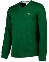 Lacoste Classic Fit Ribbed V Cotton S Green